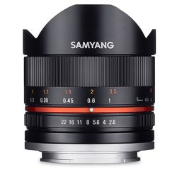 Samyang 8mm F2.8 Fish-eye black lens for Samsung NX